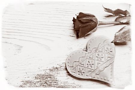 Photo pour Sympathy card with rose and heart - image libre de droit