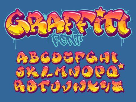 Ilustración de Vector font in old school graffiti style. Capital letters alphabet. Fully customizable colors. - Imagen libre de derechos