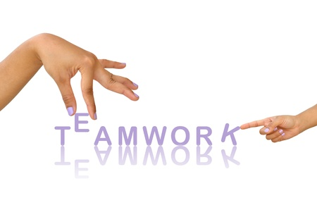 Word teamwork and hand, business concept, isolated on white