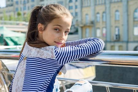 Photo for Portrait of attractive girl of 10-11 years old. - Royalty Free Image