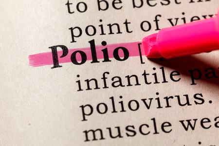 Foto de Fake Dictionary, Dictionary definition of the word Polio. including key descriptive words. - Imagen libre de derechos