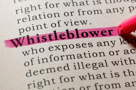 Foto de Fake Dictionary, Dictionary definition of the word whistleblower. including key descriptive words. - Imagen libre de derechos
