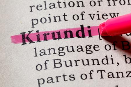 Foto de Fake Dictionary, Dictionary definition of the word Kirundi. including key descriptive words. - Imagen libre de derechos