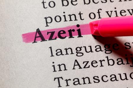 Foto de Fake Dictionary, Dictionary definition of the word Azeri. including key descriptive words. - Imagen libre de derechos