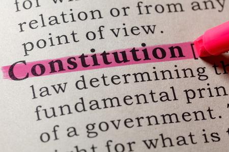 Foto de Fake Dictionary, Dictionary definition of the word constitution. including key descriptive words. - Imagen libre de derechos