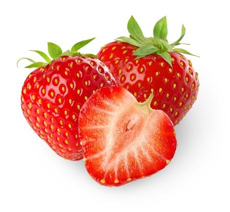 Foto de Beautiful strawberries isolated on white - Imagen libre de derechos