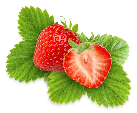 Foto de Two strawberries with leaves isolated on white - Imagen libre de derechos