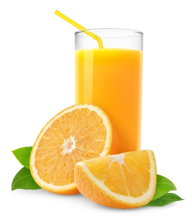 Photo pour Orange juice and slices of orange isolated on white - image libre de droit