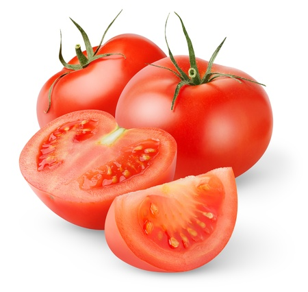 Photo pour Fresh tomatoes isolated on white - image libre de droit