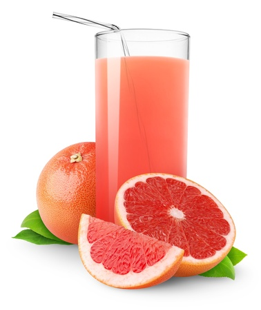 Photo for Glass of pink grapefruit juice isolated on white - Royalty Free Image