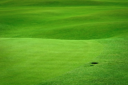 Detail of golf field with a ball hole