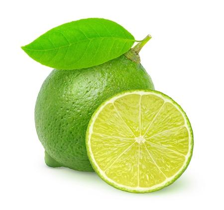 Photo for Fresh green lemon isolated on white - Royalty Free Image