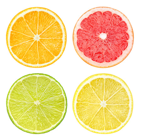 Photo for Slices of citrus fruits isolated on white - Royalty Free Image