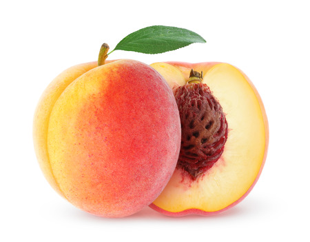 Photo for Fresh peach with leaf isolated on white - Royalty Free Image