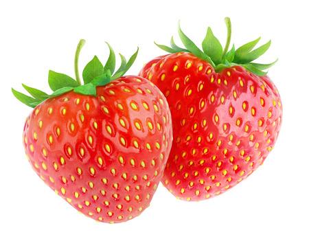 Foto de Two strawberries isolated on white - Imagen libre de derechos
