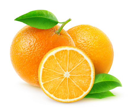 Foto de Fresh oranges isolated on white - Imagen libre de derechos