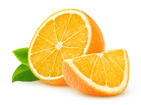 Photo for Cut oranges isolated on white - Royalty Free Image