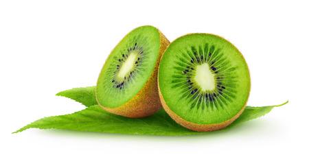 Foto de Cut kiwi fruits isolated on white - Imagen libre de derechos
