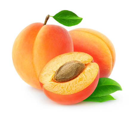 Photo for Fresh apricots isolated on white background, with clipping path - Royalty Free Image