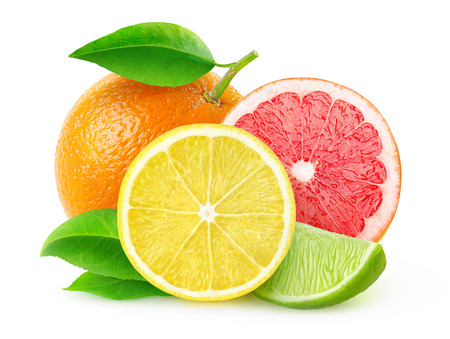 Foto de Citrus fruits (lemon, lime, grapefruit, orange) isolated on white, with clipping path - Imagen libre de derechos