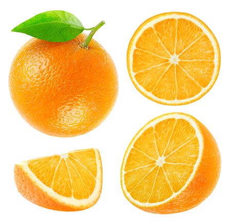 Photo pour Collection of whole and cut oranges isolated on wihte with clipping path - image libre de droit