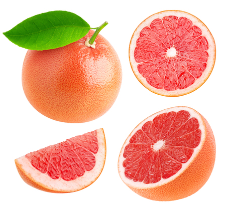 Photo for Whole and cut grapefruits collection isolated on white with clipping path - Royalty Free Image