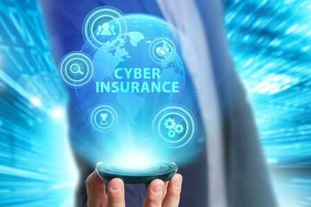 Photo pour Business, Technology, Internet and network concept. Young businessman working on a virtual screen of the future and sees the inscription: Cyber insurance - image libre de droit