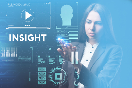 Photo pour The concept of business, technology, the Internet and the network. A young entrepreneur working on a virtual screen of the future and sees the inscription: Insight - image libre de droit