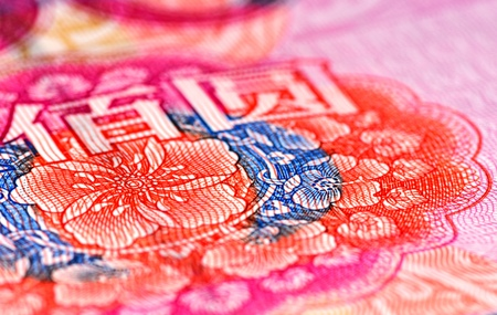 Enlarged view of an portion of the 100 RMB note showing colorful flowers and two Chinese characters (BAI and YUAN)