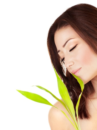 Beautiful young female portrait, holding green leaves plant, isolated on white background with white text space, beauty and spa concept