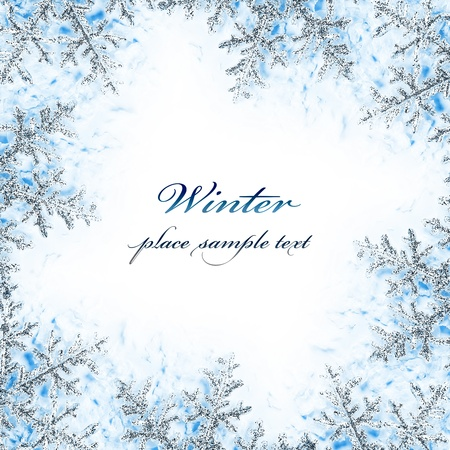 Photo for Snowflake decorative frame, beautiful blue cold frozen snow background, Christmas tree ornament and decoration, winter holidays abstract border with text space - Royalty Free Image