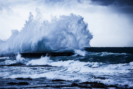 Photo for Stormy ocean waves, beautiful seascape, big powerful tide in action, storm weather in a deep blue sea, forces of nature, natural disaster - Royalty Free Image