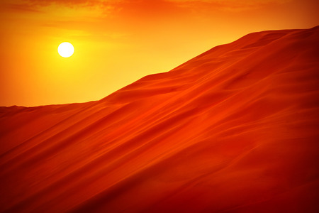 Photo for Desert sunset landscape, hot dry wilderness, beautiful panoramic scene, sandy orange hills, extreme travel, heat concept - Royalty Free Image