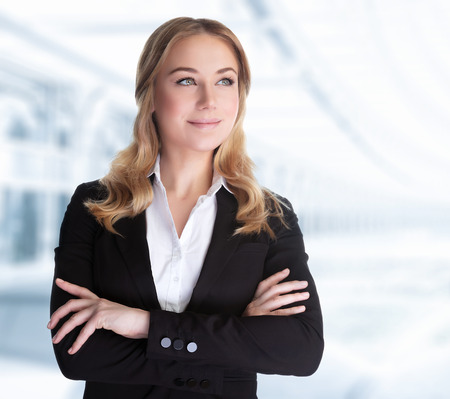 Foto de Confident business woman standing in the office, CEO of great corporate, successful career, female in the modern work place, professional people lifestyle - Imagen libre de derechos