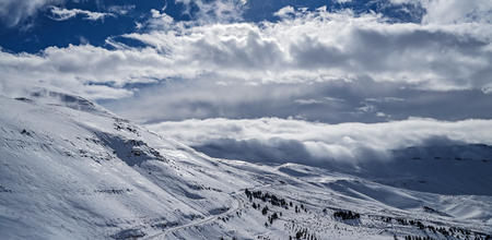 Photo for Beautiful winter landscape, high mountains covered with white snow on bright sunny day, Cedars Mountains, Lebanon  - Royalty Free Image