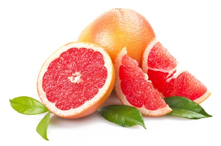 Photo for Pink grapefruit close up on the white  - Royalty Free Image
