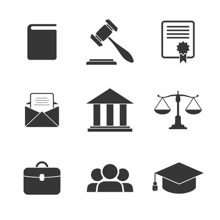 Illustration for Set of black Law and Justice Icons. Vector Illustration. - Royalty Free Image