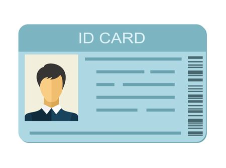 Ilustración de ID Card isolated on white background. Identification card icon. Business identity ID card icon template badge. Identification personal contact in flat style - Imagen libre de derechos