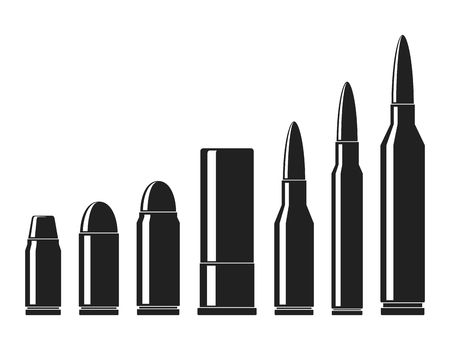 Ilustración de Cartridges icons vector set. A collection of bullets icons isolated on white background. Weapon ammo types and size in flat style. Vector illustration - Imagen libre de derechos