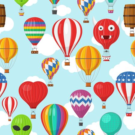 Illustration pour Aerostat Balloon transport with basket and clouds flying in blue sky Seamless Pattern, Cartoon air-balloon different shapes ballooning adventure flight, ballooned traveling flying, Background Vector - image libre de droit