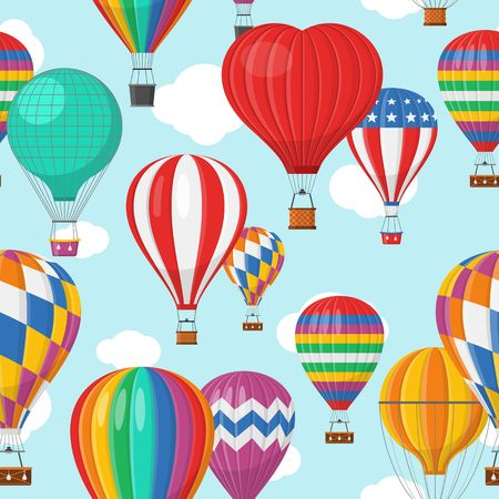 Illustration pour Aerostat Balloon transport with basket and clouds flying in blue sky Seamless Pattern, Cartoon air-balloon different shapes ballooning adventure flight, ballooned traveling flying, Background Vector illustration - image libre de droit