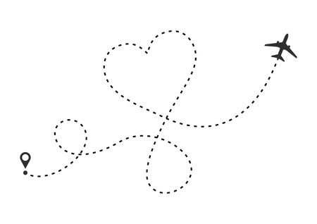 Illustration pour Love airplane route. Heart dashed line trace and plane routes isolated on white background. Romantic wedding travel, Honeymoon trip. Hearted plane path drawing. Vector illustration - image libre de droit