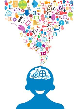 Illustration pour opened male head generating ideas Social network background - image libre de droit