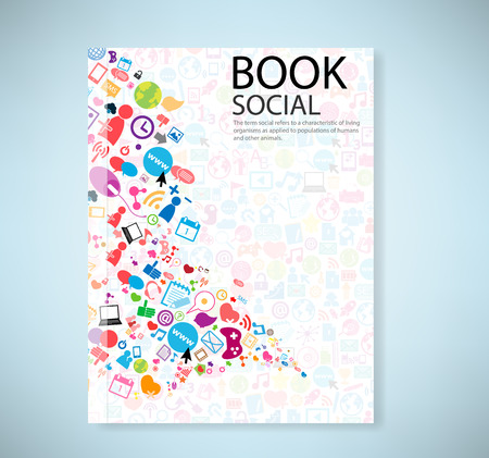 Illustration for Cover report social network background with media icons, vector illustration - Royalty Free Image