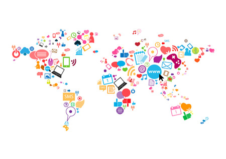 Illustration for Social network map background infographics - Royalty Free Image