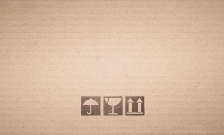 Foto de Symbol box Paper texture brown sheet background. - Imagen libre de derechos