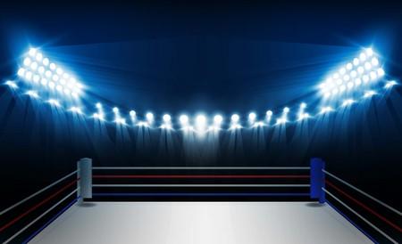 Illustration pour Boxing ring arena and floodlights vector design. Vector illumination - image libre de droit