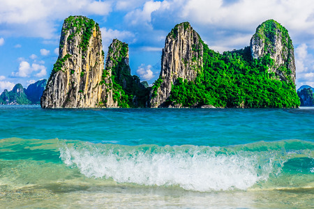 Photo for Mountain Islands in Halong Bay, Vietnam, Southeast Asia - Royalty Free Image