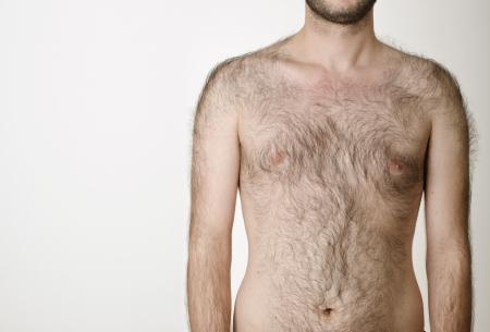 Foto de hairy male torso on a white background - Imagen libre de derechos
