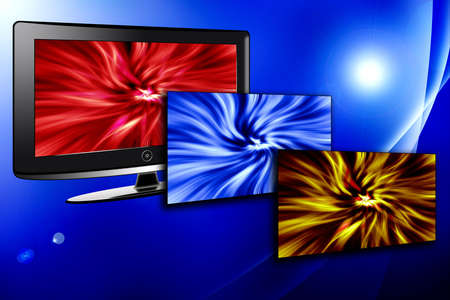 Contrasting LCD or Plasma tv set with red blue and yellow colored television screen exploding from monitor over blue shaded background.